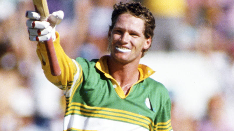 Dean Jones, pictured here celebrating a century against Pakistan in 1987.