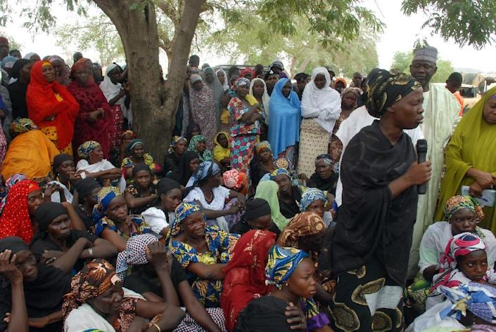 Mothers of the missing Chibok school girls abducted by Boko Haram gather to hear latest information (AFP Photo/)