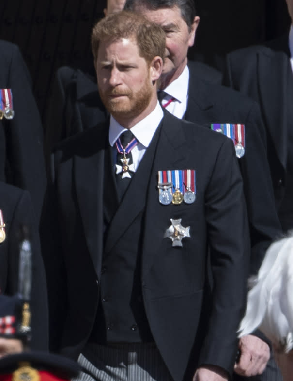 Prince Harry pictured at Prince Philip's funeral