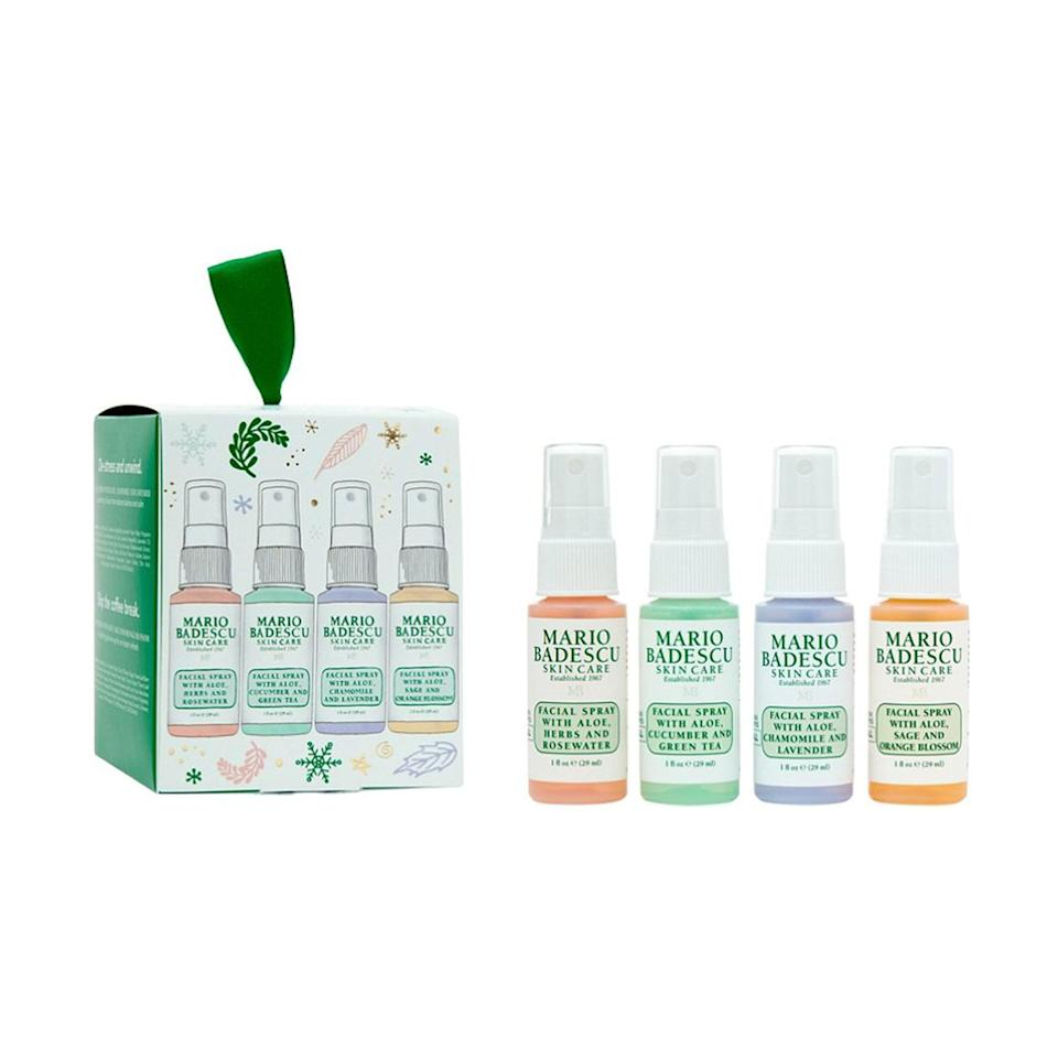 """<p>The Mario Badescu Discover Mario: Meet The Mists Kit groups up <a href=""""https://www.allure.com/gallery/mario-badescu-reviews-best-products?mbid=synd_yahoo_rss"""" rel=""""nofollow noopener"""" target=""""_blank"""" data-ylk=""""slk:the brand's best-selling"""" class=""""link rapid-noclick-resp"""">the brand's best-selling</a>, rose-scented facial spray with other ingredient iterations. All are easy to throw into purses, toiletry bags, and vanities for a quick, refreshing spritz of hydration. The green Aloe, Cucumber and Green Tea one has a cooling, pepperminty sensation when spritzed on. The calming Aloe, Chamomile And Lavender variety is purple, and you can go citrusy with the orange Aloe, Sage, and Orange Blossom mist. </p> <p><strong>$10 (</strong><a href=""""https://shop-links.co/1720798763938457112"""" rel=""""nofollow noopener"""" target=""""_blank"""" data-ylk=""""slk:Shop Now"""" class=""""link rapid-noclick-resp""""><strong>Shop Now</strong></a><strong>)</strong> </p>"""