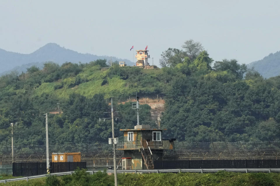 Military guard posts of North Korea, rear, and South Korea, bottom, are seen in Paju, near the border with North Korea, South Korea, Friday, Sept. 24, 2021. North Korean leader Kim Jong Un's powerful sister, Kim Yo Jong, said Friday, North Korea is willing to resume talks with South Korea if it doesn't provoke the North with hostile policies and double standards.(AP Photo/Ahn Young-joon)