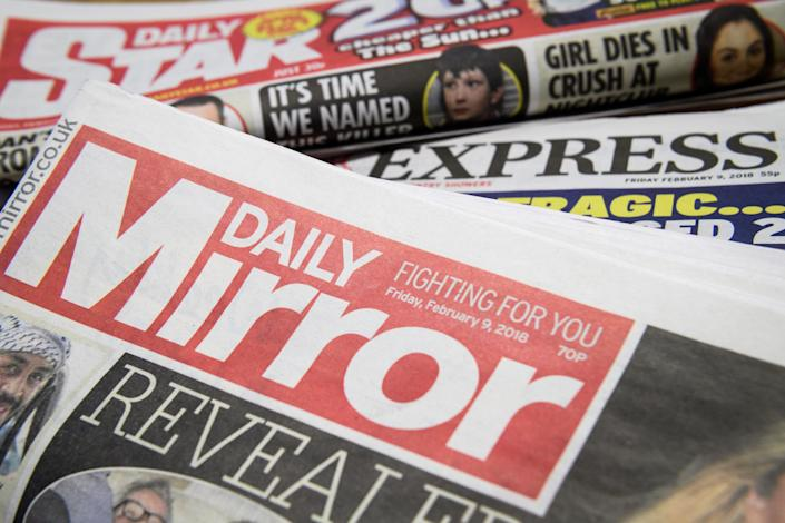 Issues of the Daily Mirror, Daily Star and Daily Express. Photo: Leon Neal/Getty Images