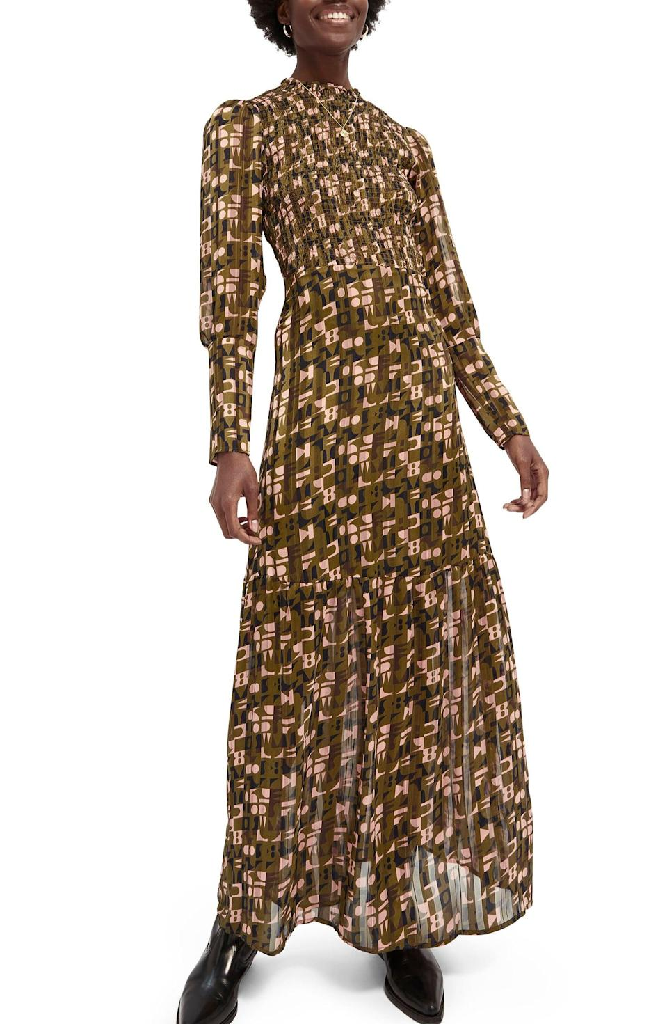 <p>This <span>Scotch &amp; Soda Abstract Print Long Sleeve Smocked Maxi Dress</span> ($198) is ready for all your Zoom parties.</p>