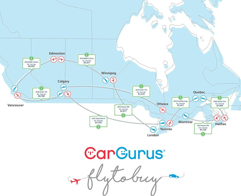 Canada Fly to Buy map. (CarGurus)