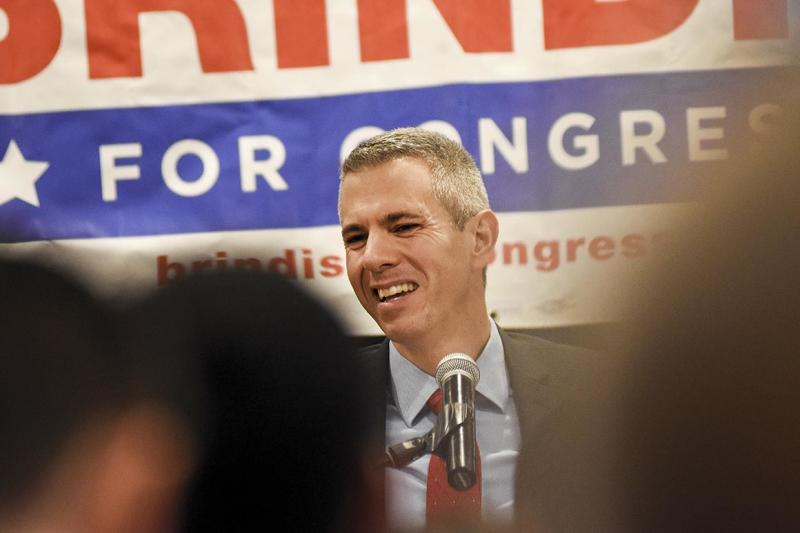 Anthony Brindisi speaks to supporters on election night, Tuesday, Nov. 6, at the Delta Hotel in Utica, N.Y. Brindisi, a Democratic Assemblyman, ran against Republican Congresswoman Claudia Tenney in the race for New York's 22nd Congressional District. (AP Photo/Heather Ainsworth)