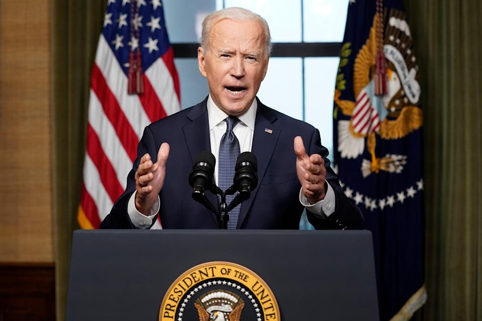 President Joe Biden speaks from the Treaty Room in the White House, about the withdrawal of the remainder of U.S. troops from Afghanistan.