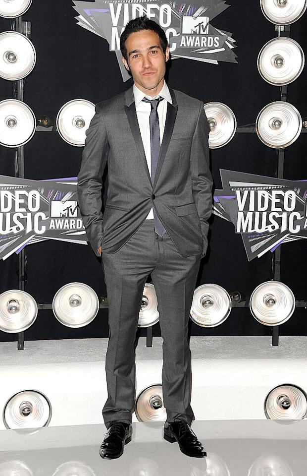"Former Fall Out Boy Pete Wentz cleaned up quite nicely in his dapper gray suit and patent leather footwear. Jason Merritt/<a href=""http://www.gettyimages.com/"" target=""new"">GettyImages.com</a> - August 28, 2011"