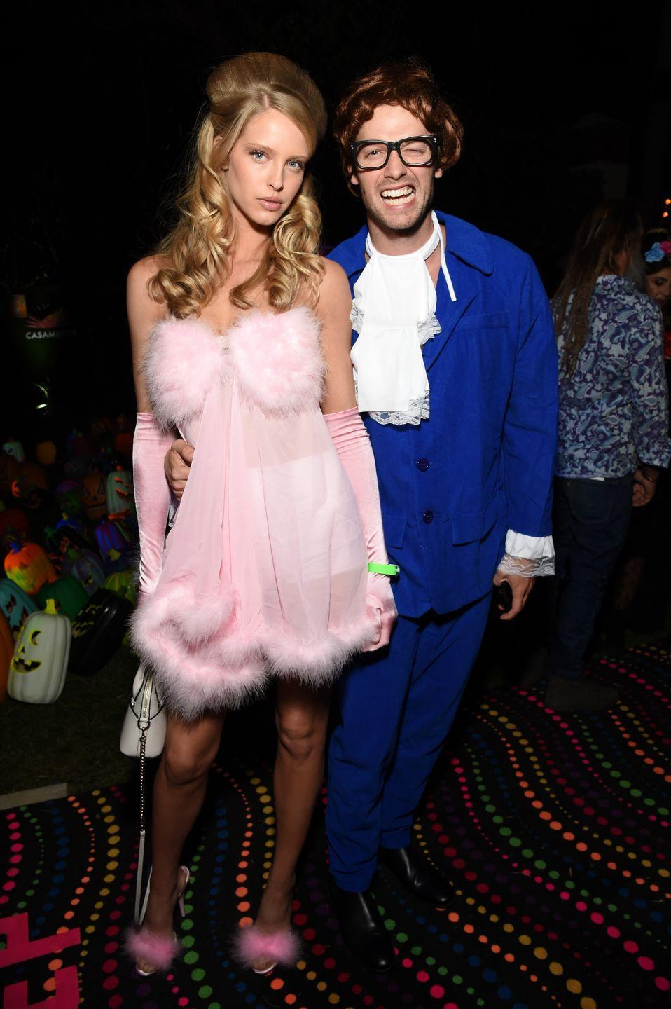 <p>Patrick Schwarzenegger gives the camera his best Austin Powers impersonation (honestly, not bad), and Abby Champion stuns as the film's female lead at a party in 2018. </p>