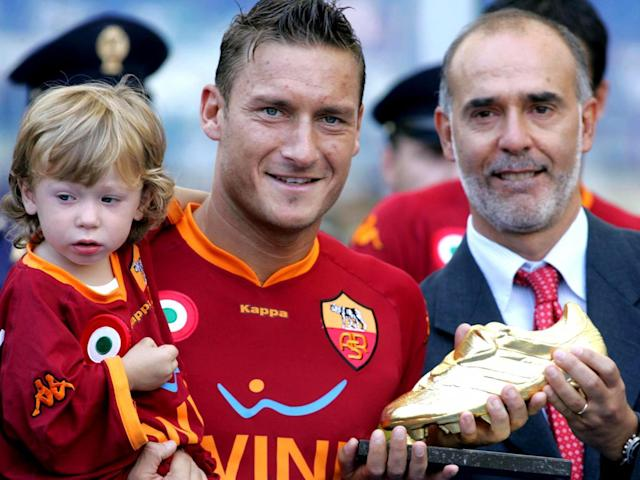 Totti in 2007, with the coveted Capocannoniere award for the best player in Serie A (Getty)