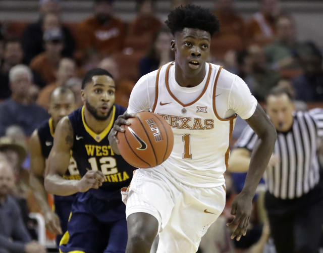 "Texas guard <a class=""link rapid-noclick-resp"" href=""/ncaab/players/143514/"" data-ylk=""slk:Andrew Jones"">Andrew Jones</a> receives clearance to enroll in web-based coursework this summer. He remains recovering from leukemia."