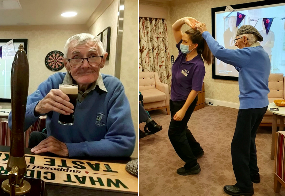 Residents at the Chandler Court care home have been enjoying pints with friends at a pub during lockdown. (SWNS)