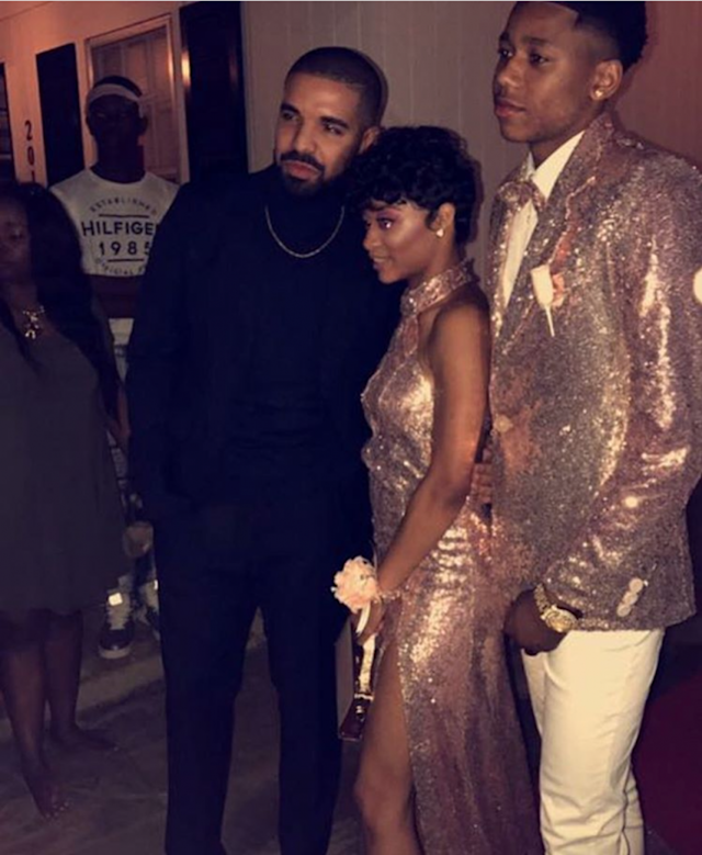 Pop star Drake popped over to Memphis to take his young cousin and her date to their high school prom. (Photo: Instagram)