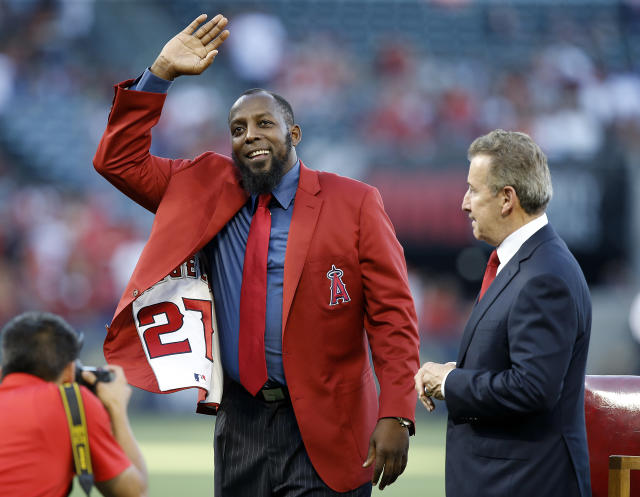 Vladimir Guerrero is showing love to the Angels with his Hall of Fame cap. (AP Photo)