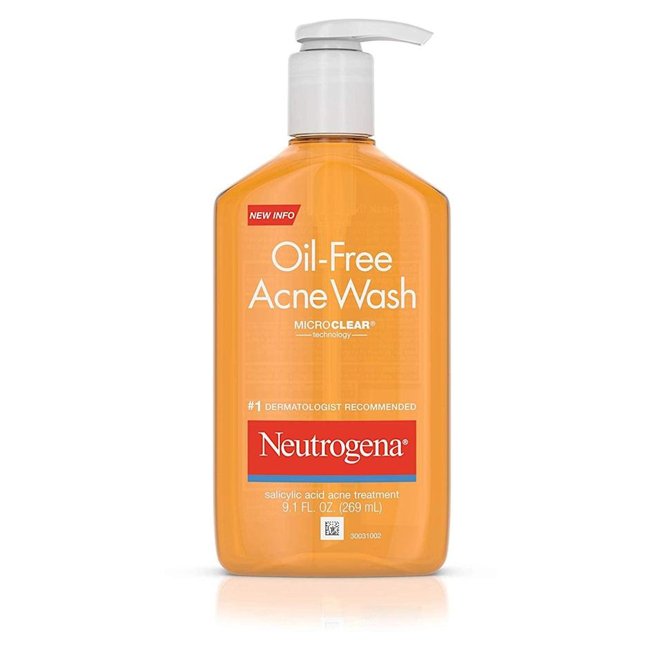 """<p>""""I love the <span>Neutrogena Oil-Free Acne Fighting Face Wash</span> ($10). Using this OTC product provides excellent results that can be even better than expensive prescription products."""" - dermatologist <a href=""""http://instagram.com/drjaredjagdeo"""" class=""""link rapid-noclick-resp"""" rel=""""nofollow noopener"""" target=""""_blank"""" data-ylk=""""slk:Jared Jagdeo"""">Jared Jagdeo</a>, MD</p> <p>""""Neutrogena's Oil Free Acne Wash is my go-to face wash for mild teenage acne. Salicylic acid, the active ingredient, is great for mild blackheads on the nose. Put it on, leave it sit for 30 seconds to a minute, then rinse."""" - Dr. Dempsey</p> <p>""""If you cannot tolerate benzoyl peroxide cleansers due to irritation, try a 2% salicylic option, such as the Neutrogena Acne Wash."""" - Dr. Haygood</p>"""