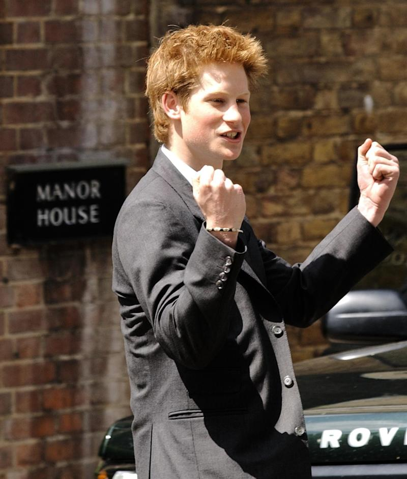 Prince Harry, the younger son of the Prince of Wales, punches the air as he leaves Eton College on his last day at the top public school where he has been a pupil for five years. * Like his older brother William, Harry has spent his Eton schooldays boarding at Manor House, on the site of the lodgings of probably the most famous Old Etonian of them all, victor of Waterloo, the Duke of Wellington. It has been announced that Prince Harry is to apply for entry to the Royal Military Acdemy at Sandhurst. (Photo by Stefan Rousseau - PA Images/PA Images via Getty Images)
