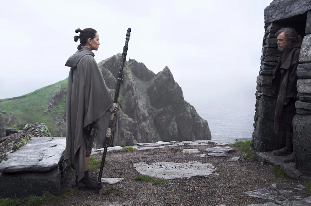 <p>At the end of <em>The Force Awakens, </em>Rey (Daisy Ridley) went to see Luke (Mark Hamill), who had been living as a hermit on a remote island called Ahch-To. <em>The Last Jedi </em>picks up where that film left off: With a conversation that doesn't exactly go as Rey might have hoped.<br />(Credit: Lucasfilm) </p>
