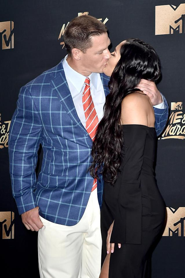 John Cena and Nikki Bella at the 2017 MTV Movie & TV Awards. (Photo: Getty Images)