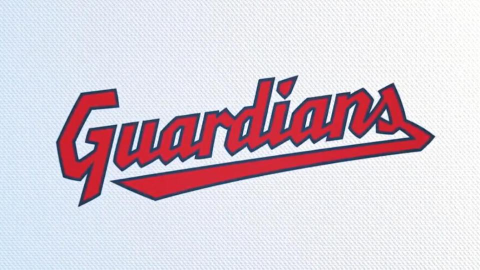 The Cleveland Guardians name logo in blue, white, and red.