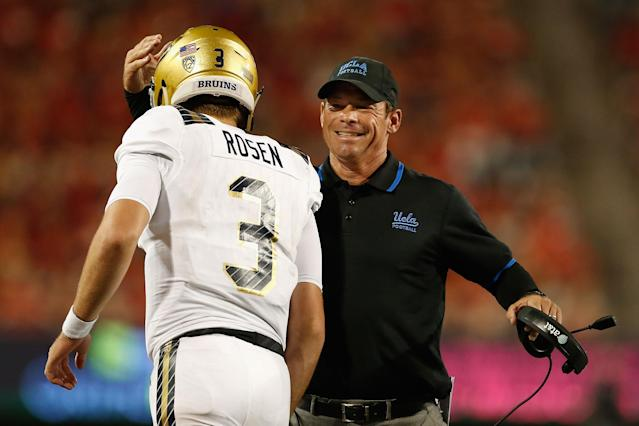 Jim Mora endorsed Sam Darnold from rival USC as the No. 1 pick in the NFL draft over Josh Rosen, whom he coached at UCLA. (Getty)