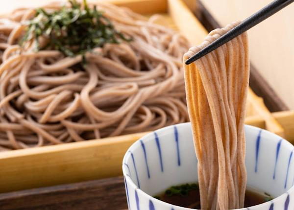 Soba is a noodle made from buckwheat flour and can be eaten hot or cold.