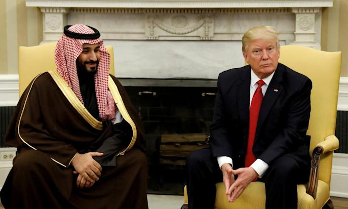 Donald Trump with Mohammed bin Salman at the White House in March. Saudi Arabia has used the Trump visit to amplify his wide-reaching reform program.