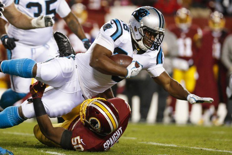 Jonathan Stewart Panthers RB Jonathan Stewart actually got his face mask knocked off