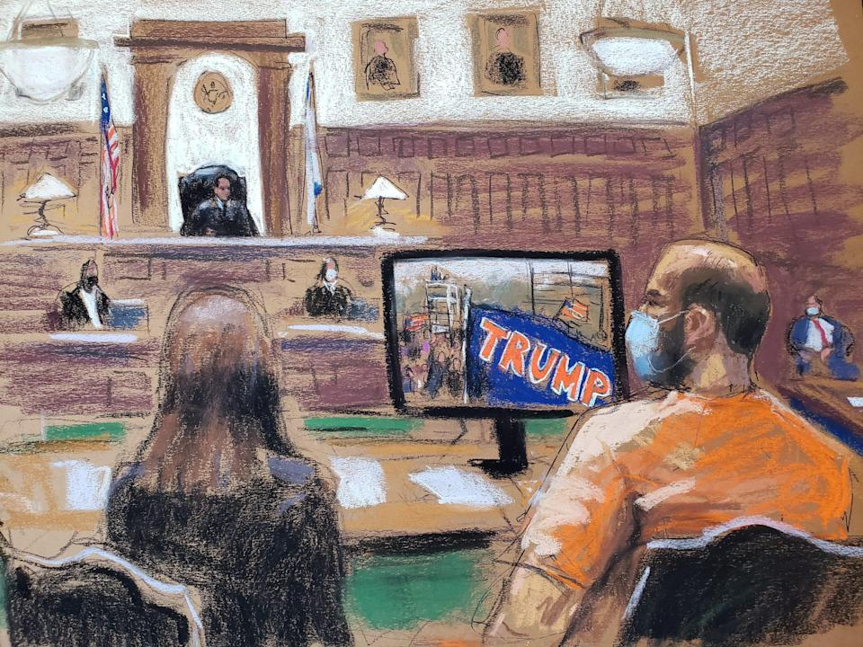 capitol riot court hearing sketch George Pierre Tanios