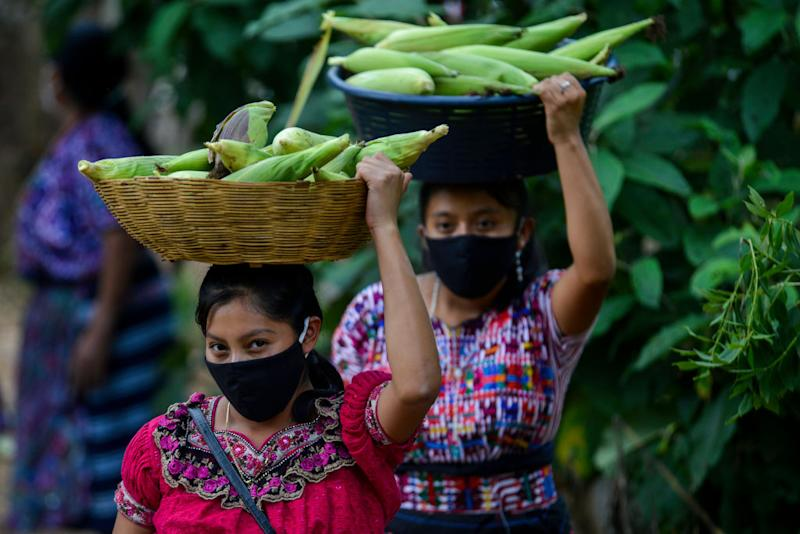 Guatemalan women carry corn during the pandemic. Source: Getty