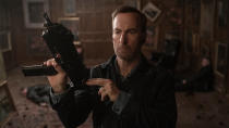 "Bob Odenkirk heads from <em>Better Call Saul</em> to his <a href=""https://uk.movies.yahoo.com/nobody-bob-odenkirk-home-intruder-experience-trailer-160919647.html"" data-ylk=""slk:action movie debut;outcm:mb_qualified_link;_E:mb_qualified_link;ct:story;"" class=""link rapid-noclick-resp yahoo-link"">action movie debut</a> in this thriller from <em>Hardcore Henry</em> director Ilya Naishuller. Odenkirk plays a mild-mannered family man who turns vigilante, with the script penned by <em>John Wick</em> creator Derek Kolstad. There will be blood, and hopefully plenty of fun along with it. (Credit: Universal)"