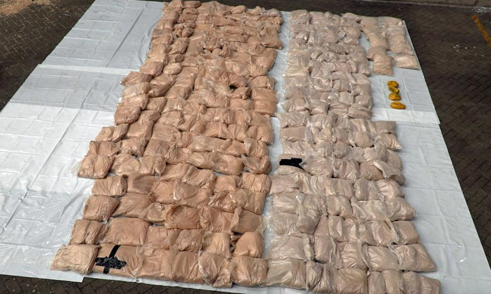 Undated handout photo issued by the National Crime Agency (NCA) showing a �21 million haul of heroin that was hidden inside bags of rice which has been seized from a container ship at the port of Felixstowe.