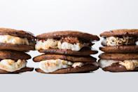 """Replacing hard crackers with soft graham-flavored cookies not only makes s'mores more impressive, it also makes them easier to eat. <a href=""""https://www.epicurious.com/recipes/food/views/smores-sandwich-cookies-56389706?mbid=synd_yahoo_rss"""" rel=""""nofollow noopener"""" target=""""_blank"""" data-ylk=""""slk:See recipe."""" class=""""link rapid-noclick-resp"""">See recipe.</a>"""