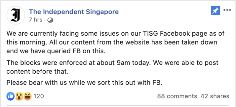 Screenshot of The Independent Singapore's Facebook post.