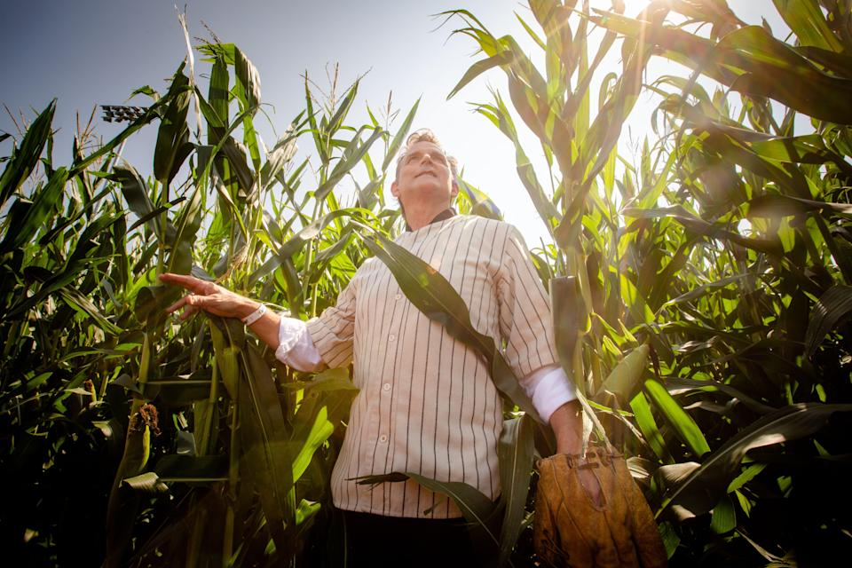 Actor Dwier Brown, who played John Kinsella, the father of Kevin Costner's character in Field of Dreams checks out the corn outfield at the new stadium where Major League Baseball will host tomorrow's game between the New York Yankees and the Chicago White Sox near the Field of Dreams movie site outside of Dyersville, Wednesday, Aug. 11, 2021.