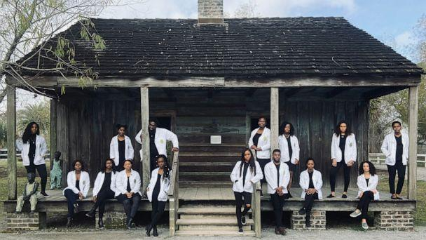 PHOTO: Medical students of Tulane University in New Orleans, Louisiana, pose in a recent photo in front of the slave quarters at The Whitney Plantation in Wallace, Louisiana. (Brian Washington Jr./Doyin Johnson)