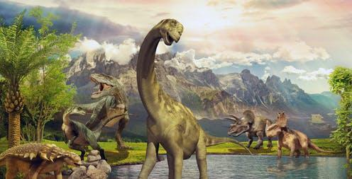 """<span class=""""caption"""">Fossilised melanin has revealed some dinosaur colours.</span> <span class=""""attribution""""><a class=""""link rapid-noclick-resp"""" href=""""https://www.shutterstock.com/image-photo/dinosaurs-park-by-lake-1094368226"""" rel=""""nofollow noopener"""" target=""""_blank"""" data-ylk=""""slk:shutterstock/AmeliAU"""">shutterstock/AmeliAU</a></span>"""