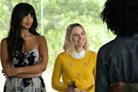"""<p>This delightful, Kristen Bell–led comedy has three seasons you can binge on Netflix. Bell plays Eleanor Shellstrop, a woman who arrives in the afterlife and realizes she was sent to the utopic """"good place"""" by accident. So she enlists an ethics professor to help her try to become a better person. Wacky antics—and a lot of interesting debates about morality—ensue.</p> <p><a href=""""https://www.netflix.com/title/80113701"""" rel=""""nofollow noopener"""" target=""""_blank"""" data-ylk=""""slk:Available to stream on Netflix"""" class=""""link rapid-noclick-resp""""><em>Available to stream on Netflix</em></a></p>"""