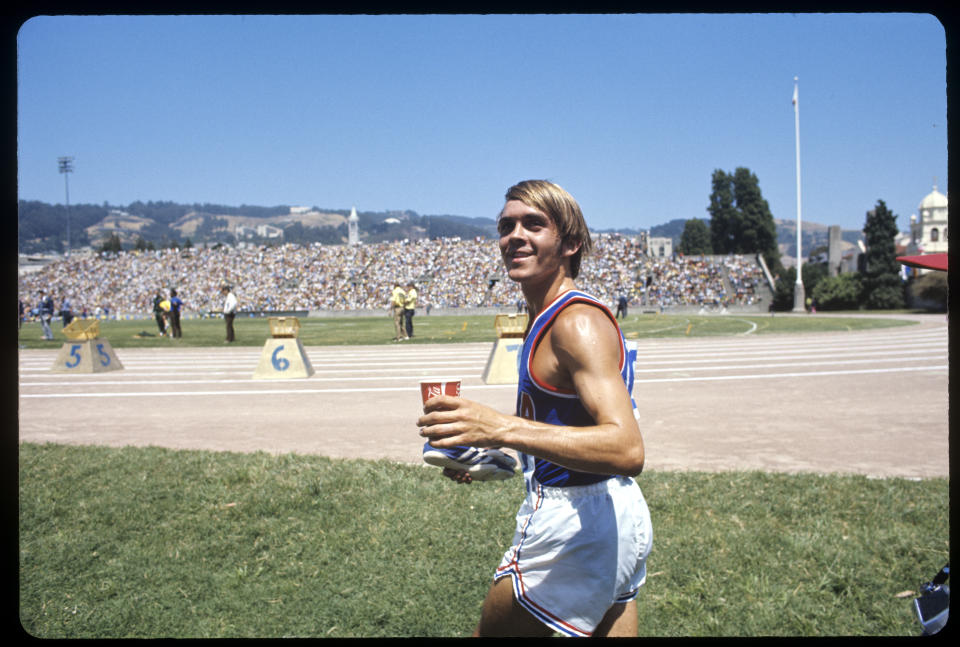 03 JULY 1971:  Steve Prefontaine in action running in the dual meet of the US vs. USSR (Soviet Union) All-Stars in Berkeley, CA. Prefontaine won his 5000 meter race in a time of 13:30.4 - a new American record.; Photo: © Rich Clarkson / Rich Clarkson & Assoc.