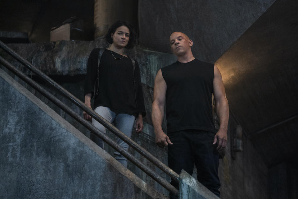 Letty (Michelle Rodriguez) and Dom (Vin Diesel) in Fast & Furious 9. (PHOTO: United International Pictures)