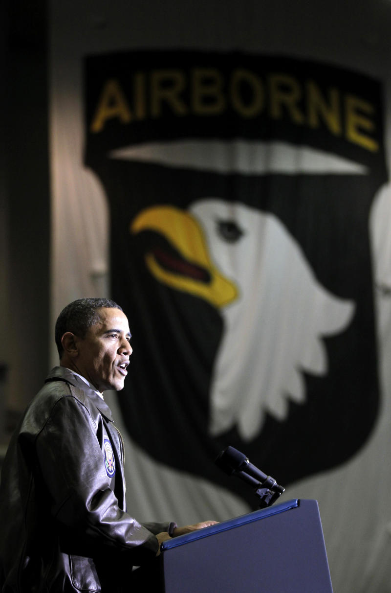 President Barack Obama speaks to the troops at a rally duirng an unannounced visit at Bagram Air Field in Afghanistan, Friday, Dec. 3, 2010. (AP Photo/Pablo Martinez Monsivais)