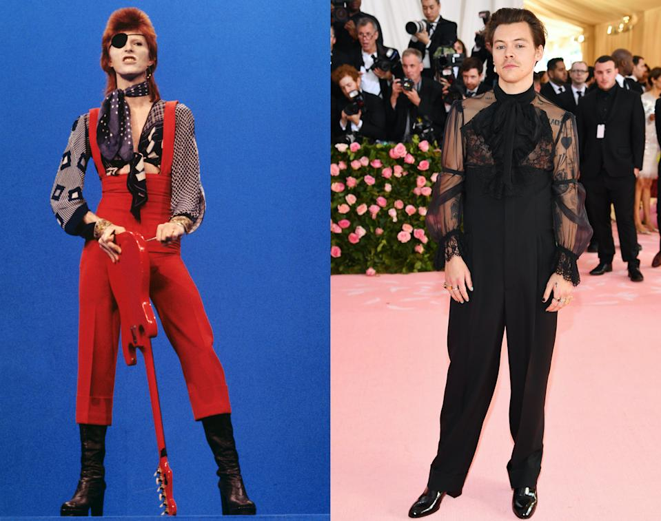 Harry Styles (R) regularly cites David Bowie as a style icon of his. (Gijsbert Hanekroot/Redferns via Getty/ANGELA WEISS/AFP via Getty Images)