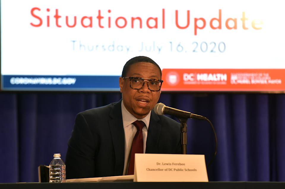 Dr. Lewis Ferebee, chancellor of Washington, D.C., Public Schools speaks at a daily briefing in July 2020. (Marvin Joseph/The Washington Post via Getty Images)