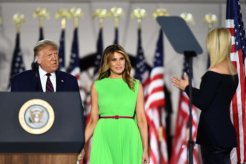 Ivanka Trump (L), daughter and Advisor to the US President, introduces US President Donald Trump and US First Lady Melania Trump ahead of his acceptance speech for the Republican Party nomination for reelection during the final day of the Republican National Convention at the South Lawn of the White House in Washington, DC on August 27, 2020: AFP via Getty Images