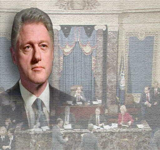 Bill Clinton headshot over subdued image of US Senate chamber at beginning of impeachment proceedings, partial graphic
