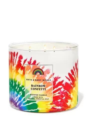 """<p><strong>Bath & Body Works</strong></p><p>bathandbodyworks.com</p><p><strong>$24.50</strong></p><p><a href=""""https://www.bathandbodyworks.com/p/rainbow-confetti-3-wick-candle-026274147.html"""" rel=""""nofollow noopener"""" target=""""_blank"""" data-ylk=""""slk:Shop Now"""" class=""""link rapid-noclick-resp"""">Shop Now</a></p><p>I could always use an excuse to stock up on new candles and this collection is just the thing. Bath & Body Works has released all their best products (<a href=""""https://www.bathandbodyworks.com/t/love-always-wins"""" rel=""""nofollow noopener"""" target=""""_blank"""" data-ylk=""""slk:candles, soaps, sprays, and more"""" class=""""link rapid-noclick-resp"""">candles, soaps, sprays, and more</a>) decked in a low-key rainbow motif in honor of Pride month. On top of this, the brand has <strong>donated $1 million to the <strong>Human Rights Campaign Foundation</strong></strong>. </p>"""