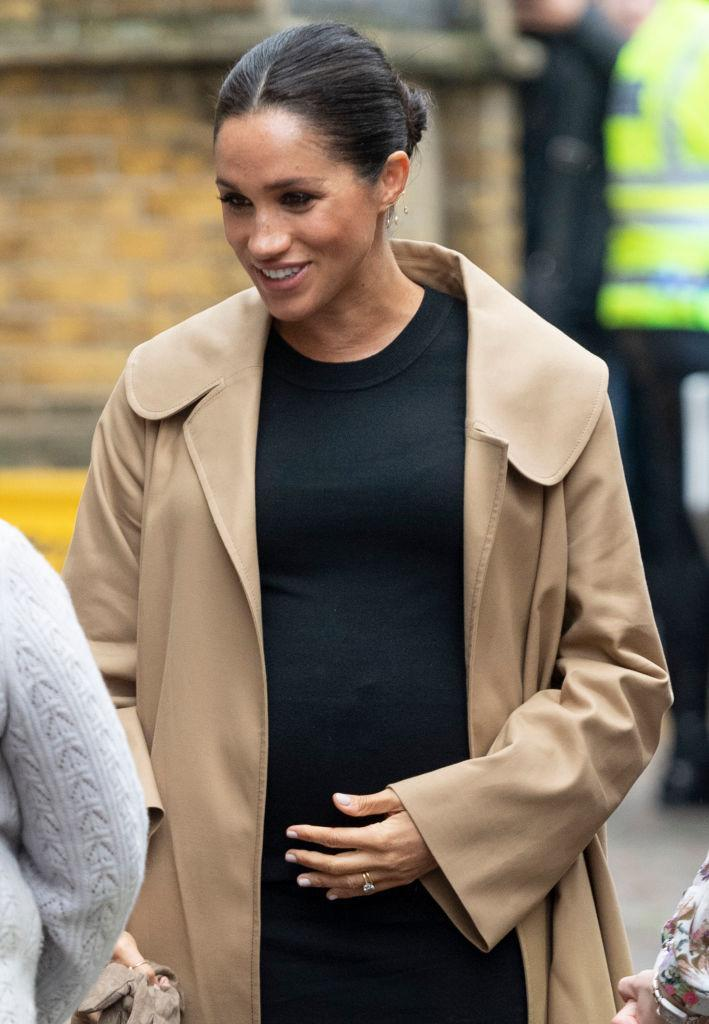 The Duchess of Sussex made an appearance this morning and fans noticed this change to her bump [Photo: Getty]