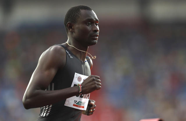FILE - In this Wednesday, June 28, 2017 file picture David Lekuta Rudisha from Kenya competes in the 1000 meters men's event at the Golden Spike athletic meeting in Ostrava, Czech Republic. David Rudisha didn't take part in the Kenyan trials and will miss the world championships as he struggles to get over thigh and back injuries that have kept him out of top-level competition for more than two years (AP Photo/Petr David Josek, file)