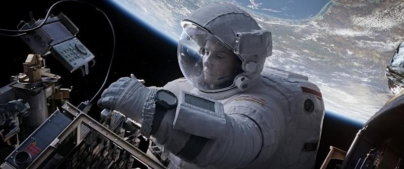 """This film image released by Warner Bros. Pictures shows Sandra Bullock in a scene from """"Gravity."""" (AP Photo/Warner Bros. Pictures)"""