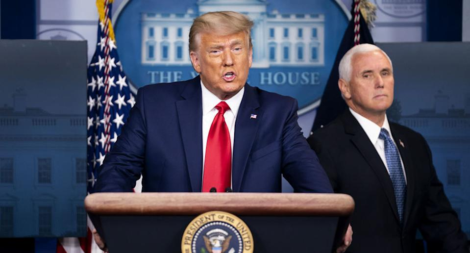 Donald Trump speaks during a news conference with Vice President Mike Pence.
