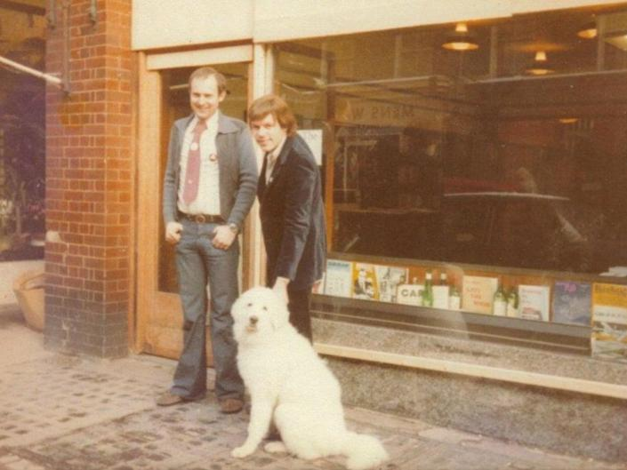PeterDorey (left) and Ernest Hole outside the shop on its opening day in 1979 (Gay's the Word)