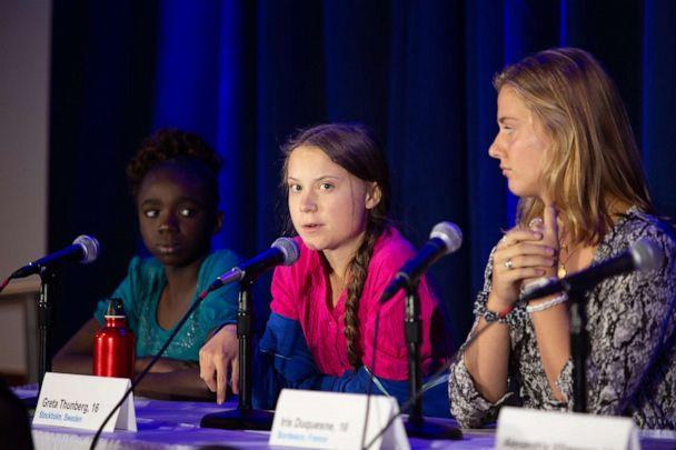 PHOTO: Greta Thunberg, 16, from Stockholm, Sweden, speaks at a press conference at UNICEF House in New York, Sept. 23, 2019. (Radhika Chalasani/UNICEF)